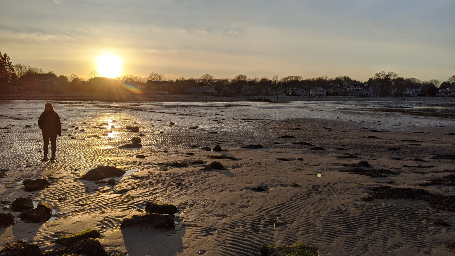 My wife, Stephanie MacDonald, pictured at Willard Beach, South Portland, Maine, on March 9, 2020, during sunset.